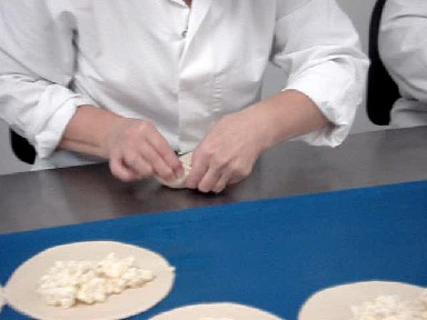 Crantock Bakery - right-handed crimping two pasties