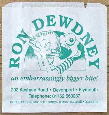 Ron Dewdney paper bag - to 'old yur pasty in while you eat'n!