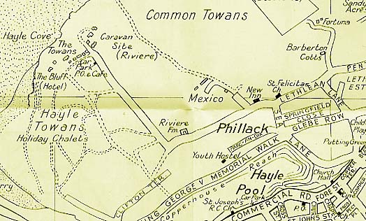 Map of Phillack, Hayle showing Mexico
