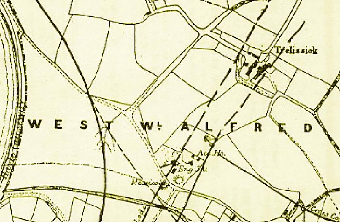 Old map of Hayle showing Trelissick Farm and the Mexico tin mine shaft